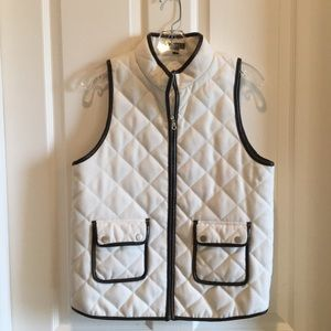 Off white vest with brown leather cording